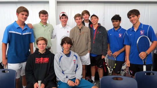 MUS tennis players, front row, from left, Alex Carruthers, Michael Apple; second row, Maxwell Varner, Paul LaHue, Austin Hord, Sloan Schneiter, Jack Richman, Frederick Danielson, Arnav Thakur, and Andres Carro