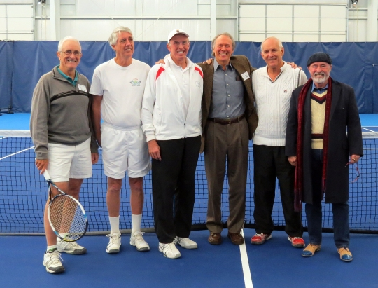 Members of the 1958 Southern Interscholastic Tennis Championship team, from left, Ferrell Varner '60, John Bondurant '60, Les Nicholson '58, Carl Olsen '60, Alex Wellford '60, and Archie McLaren '60 joined in the dedication of the Field House before several teamed up with current MUS tennis players to try out the courts.