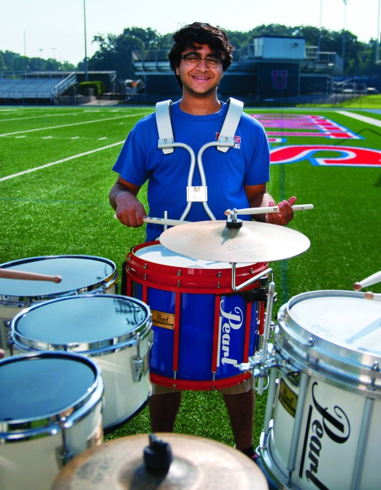 Senior Ahmed Latif helped found the school's drum corps.